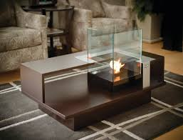 contemporary coffee table tempered glass with bioethanol
