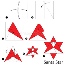 How To Make A Origami Santa - step by step how to make origami a santa stock