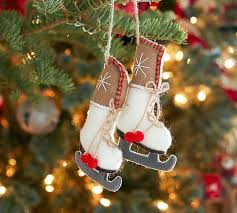 felted pair of skates ornament pottery barn