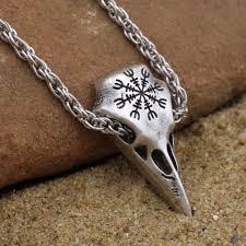 skull pendant necklace images Viking raven skull pendant necklace amulet helm of awe jewelry jpg