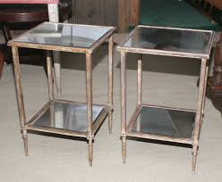 Glass End Tables Pair Of Gilt Metal And Mercury Glass End Tables At 1stdibs Glass