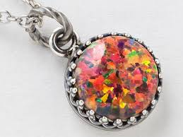 red opal necklace images Silver opal necklace fire opal pendant mexican opal necklace in jpg