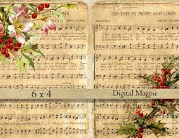 christmas music digital collage sheet shabby vintage images