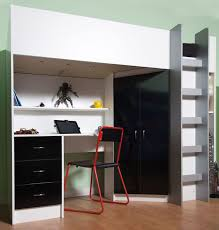 White High Gloss Bedroom Furniture Uk High Sleeper Cabin Bed With Desk And Wardrobe Calder M2270