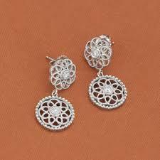 earrings brands leslie greene sterling silver small drop diamond earrings