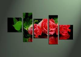 home decor flower 5 piece red rose floral canvas art prints