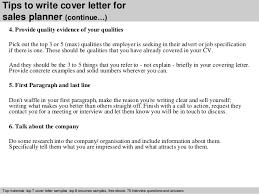 sales planner cover letter