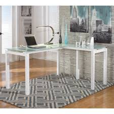 Glass L Shaped Desk Chintaly Finnigan Modern Glass Computer Desk Hayneedle