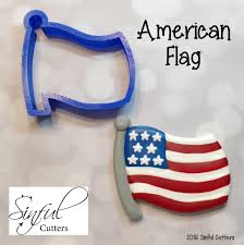Flag Cookie Cutter American Flag Cookie Fondant Cutter From Sinfulcutters On Etsy