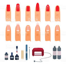 kit for gel manicure and types of shapes of nails on fingers stock