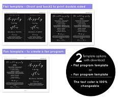 chalkboard wedding program template chalkboard wedding program fan and flat template