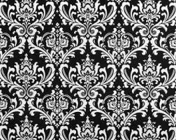Black And White Damask Curtain Damask Curtain Panel Etsy