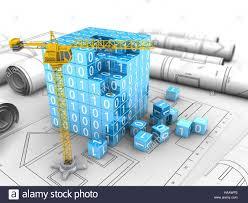 build blueprints 3d illustration of crane building binary build blueprints stock