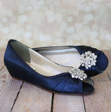 wedding shoes wedges navy blue kitten heel wedding shoe wedges with classic cluster