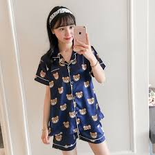 2018 s pajamas set with silk nightwear set high quality