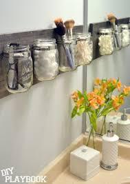 a diy mason jar organizer is the best bathroom storage for