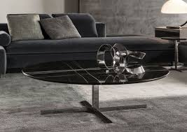 contemporary coffee table metal marble oval catlin minotti