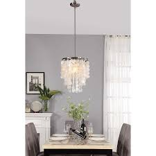 Art For Dining Room Decor Hanging Capiz Shell Chandelier With White Granite Table Top