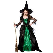 girls emerald witch deluxe halloween gothic fancy dress costume