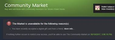steam digital gift card psa receiving steam digital gift card will lock you from market