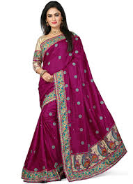 Buy Violet Embroidered Art Silk Silk Sarees Buy Silk Sarees Online India At Best Prices