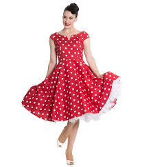 beautiful 50s style polka dot dress fitted bodice with flattering