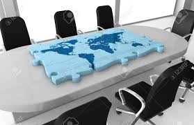 World Map Desk by One Office Room With A World Map Made With Puzzle Pieces On The