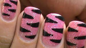 pink tiger nails glitter nail polish designs animal nail art