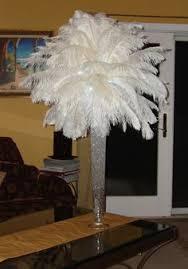 Feather Vase Centerpieces by Ostrich Feather Pedestal Arrangements On Black Pedestal Stands