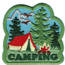 boy cub camping tent trees fun patches crests badges scout