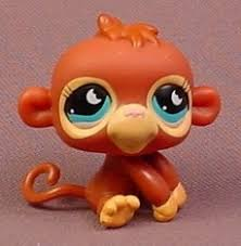 littlest pet shop 853 brown baby monkey with blue moon