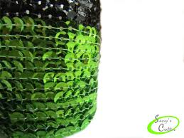 votive candle cover sequin candle sleeve lime green and black