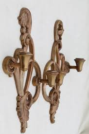 Wooden Wall Sconce Shabby Gold Rococo Candle Sconces Vintage Syroco Wood Wall Sconce Set