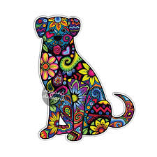 dog car decal colorful flowers laptop decal bumper sticker zoom