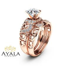14k rose gold moissanite bridal set unique engagement rings art