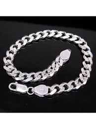 man sterling bracelet images Solid genuine 925 sterling silver curb link chain men 39 s bracelet jpg