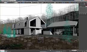 vray exterior lighting daylight settings scene 3d model landscape