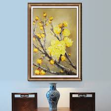modern apartment art hand painting wintersweet flowers oil painting on canvas home