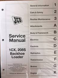 jcb service 1cx 208s backhoe loader repair manual ebay