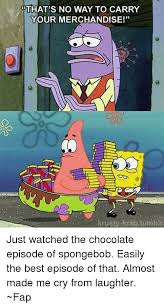 Chocolate Meme Spongebob - that s no way to carry your merchandise krusty krab tumbr just
