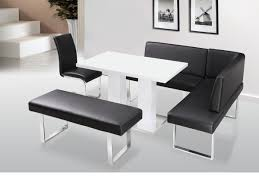 White Leather Benches Furniture White Wooden Dining Table Set With Rectangle And Corner