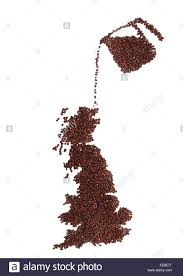 A Map Of England pot of coffee pouring a map of england and scotland made of brown
