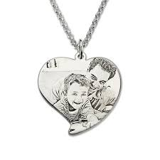 photo engraved necklace personalized sterling silver photo engraved necklace heart photo