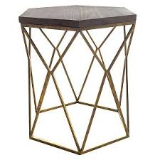 gold metal side table chester end table gold metal hexagon threshold for the home