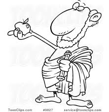 cartoon black and white line drawing of a philosopher holding an