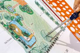 landscape architect design water garden plans for backyard stock