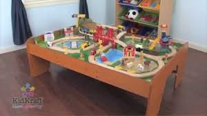kidkraft ride around town wood train table u0026 toy set 17836 youtube