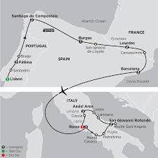 Iberia Route Map by Lourdes U0026 Fatima Tours With Italy Cosmos Religious Tours