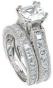 princess cut cubic zirconia wedding sets 925 sterling silver rhodium finish cz princess engagement set ring