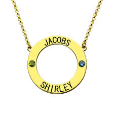 customized name necklace personalized karma necklace circle name necklace with birthstones